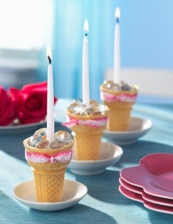 Ice cream cone candleholders with tapers