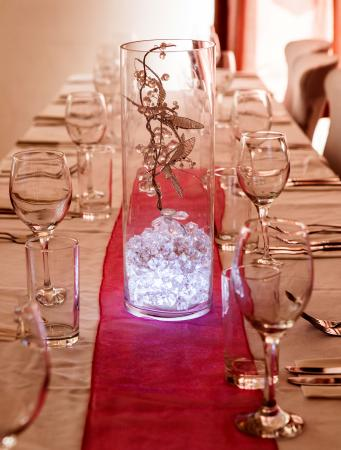 glowing gem centerpiece on long table