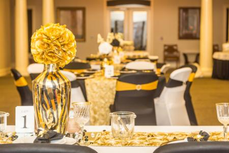 gold and black tiger centerpiece