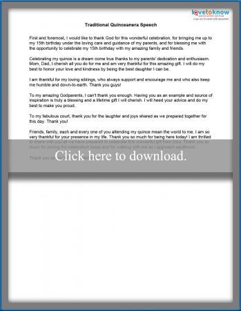 Quinceanera Birthday Speech Example | LoveToKnow
