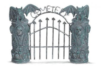 Grasslands Road Halloween Spooky Town Cemetery Gate and Fence Set