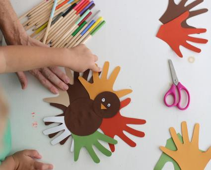 Making Thanksgiving turkey crafts