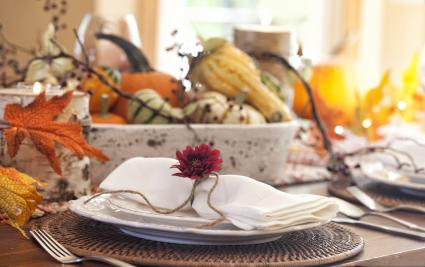 Outdoor theme table setting for Thanksgiving
