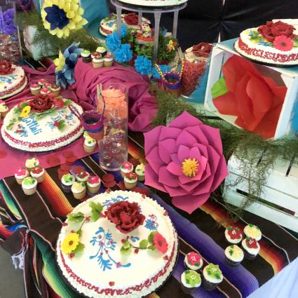 Quinceanera Cake, confectionaries, and decorations