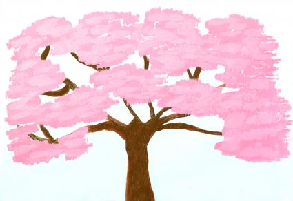 Hand painted watercolor painting of cherry blossom tree