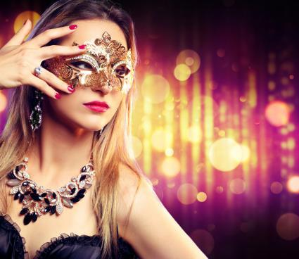 Woman Wearing Carnival Mask
