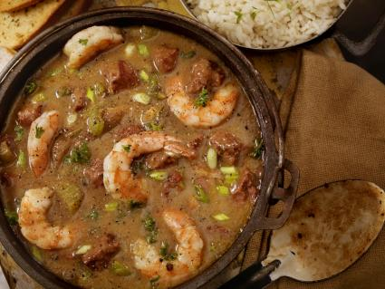 Shrimp and Sausage Gumbo with white rice and french bread