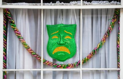 Mardi Gras window decorations