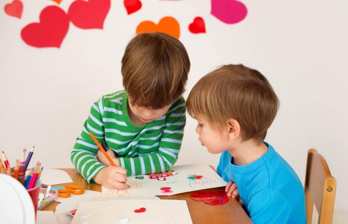 Kids engaged in Valentine's Day Arts