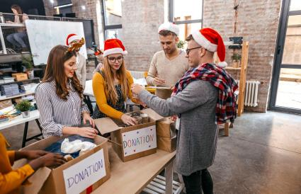 Volunteers collecting donations at Christmas