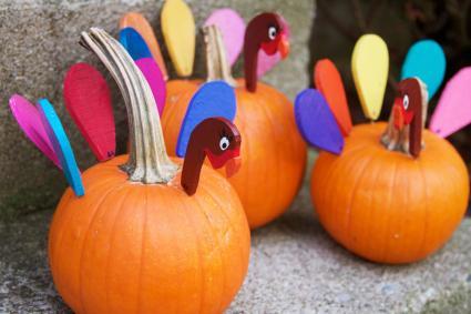 Three turkey pumpkins
