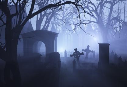 A spooky graveyard