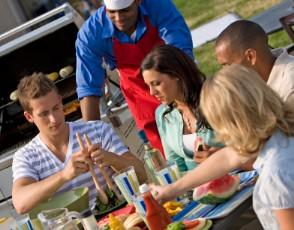 Serve great summer recipes at a BBQ party.