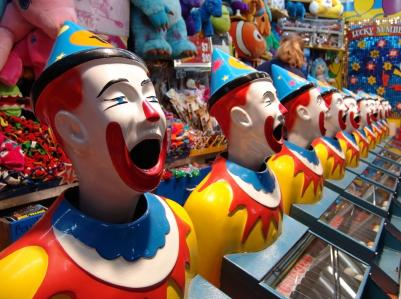 Photo of clown decorations at a carnival.