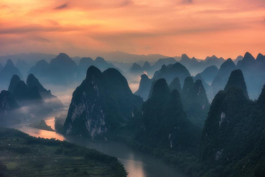 Karst Mountains From Xianggang Hill