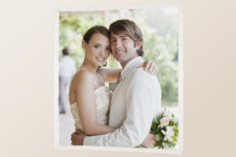 Bride and groom photo on fabric