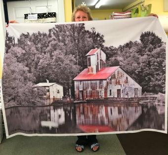 Lakeside Barn photo on fabric