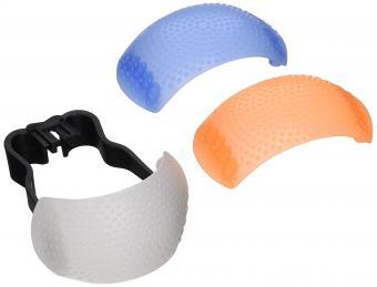 Neewer 88015585 Hot-Shoe Soft Pop-Up Flash Diffuser for Digital SLR Cameras (White, Blue, Orange)