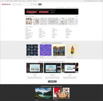 Shutterstock homepage screenshot