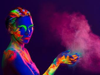 Woman with UV makeup