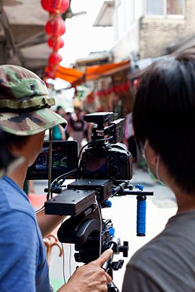 Canon 5D Mark II with a video rig
