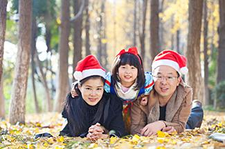 Family with Santa Hats