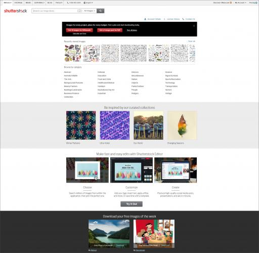 Shutterstock homepage screenshot