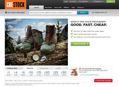 Crestock homepage screenshot