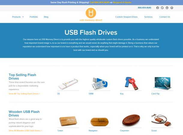 Screenshot of USBMemoryDirect.com