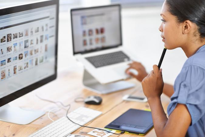 Woman looking at stock photos online