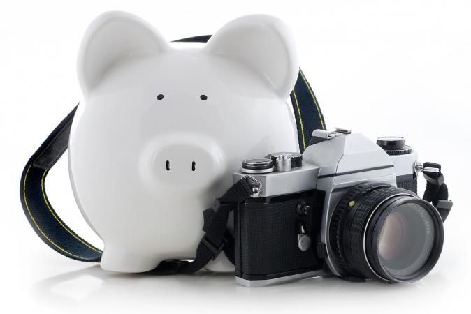 Camera with piggy bank