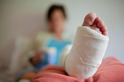Woman with injured foot