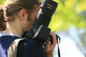 Photojournalist at work.