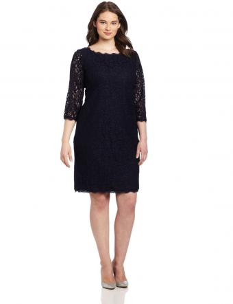 Adrianna Papell Long-Sleeved Lace Dress from Amazon.com
