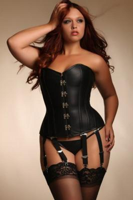 Angelina Steel Boned Leather Corset from Hips & Curves