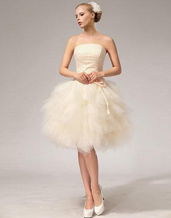 Dazzling Champagne Beaded Short Wedding Dress with Layered Skirt