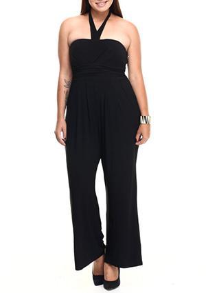 Plus size strapless halter pockets wide leg jumpsuit