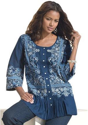 Roaman's Women's Plus Size Floral Shirt