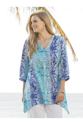 Ulla Popken womens Plus Size Ulla-timate Prints Sharkbite Tunic