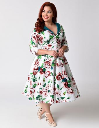Unique Vintage Plus Size 1950s White & Floral Sleeved Eva Marie Swing Dress