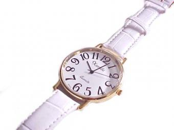Plus Size Watch Gold and White Strap to 8.5 Inch