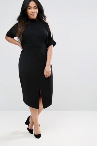 ASOS Curve Wiggle Dress With Cold Shoulder