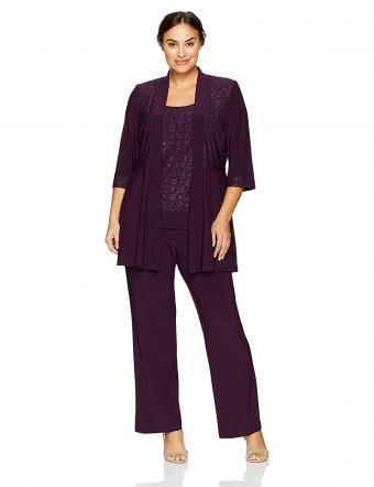 R&M Richards Plus Size Two Piece Glitter and Lace Pant Set