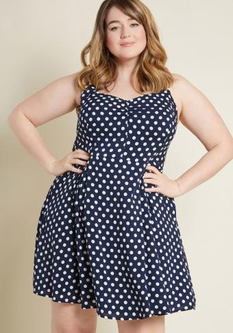 Retro A-Line Dress in Dotted Navy