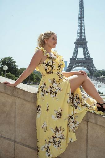 Woman in yellow maxi dress