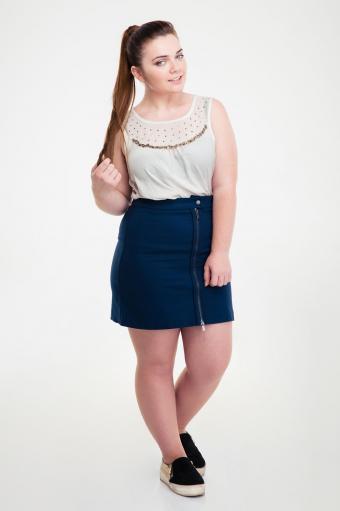 Simple top and denim skirt