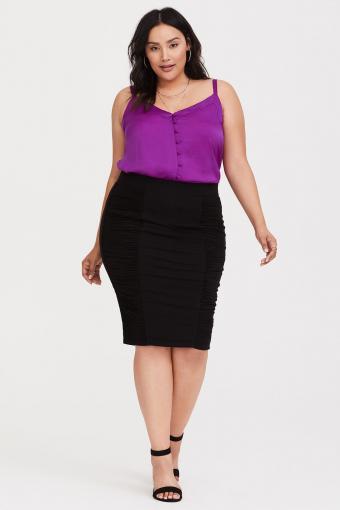Black Shirred Jersey Midi Pencil Skirt