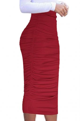 High Waist Red Ruched Pencil Skirt