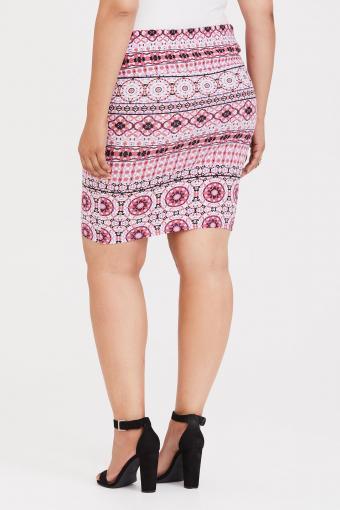 Mosaic Foldover Pencil Skirt