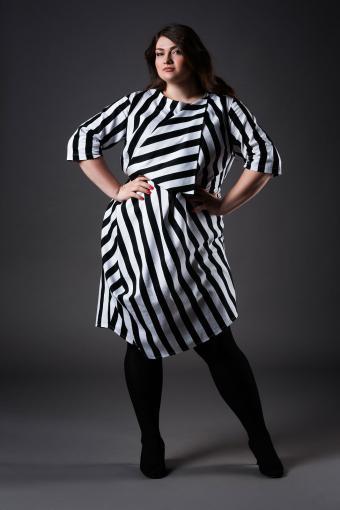Woman wearing diagonal stripe dress